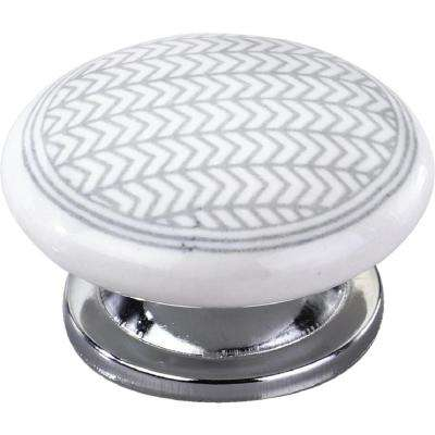 Arrow Pattern 1-3/5 in. Grey Flat Cabinet Knob
