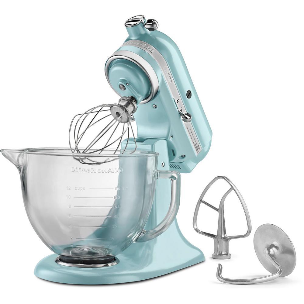+2. KitchenAid Artisan Designer 5 Qt. Azure Blue Stand Mixer