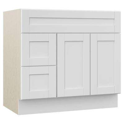 Stirling 36 in. W x 21.5 in. D x 33.5 in. H Bath Vanity Cabinet Only with Drawers on Left in White