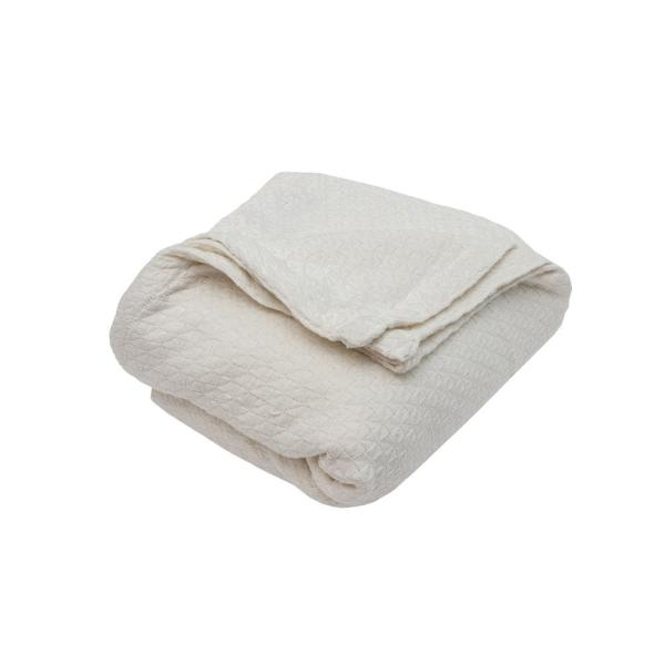 Carrie Cotton King Throw Blanket in Ivory