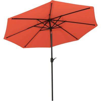 9 ft. Fade Resistant Aluminum Market Auto Tilt Patio Umbrella in Burnt Orange