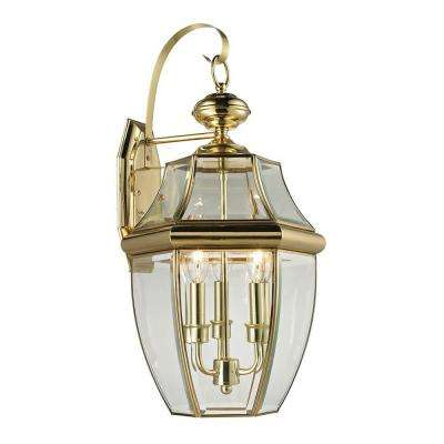 Ashford 3-Light Outdoor Brass and Gold Sconce
