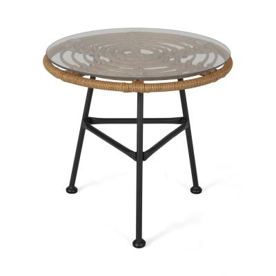 Orlando Light Brown and Black Round Woven Faux Rattan Outdoor Side Table with Glass Top