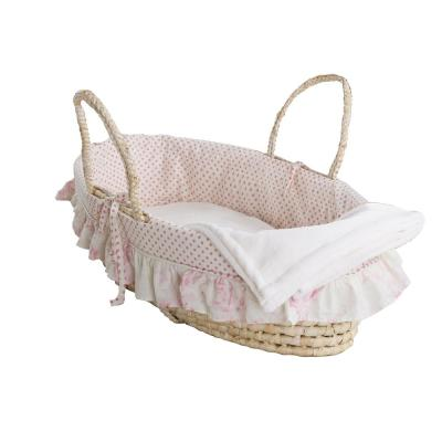 Heaven Sent Girl Pink & White Polka Dots with Floral Ruffle Trim Moses Basket