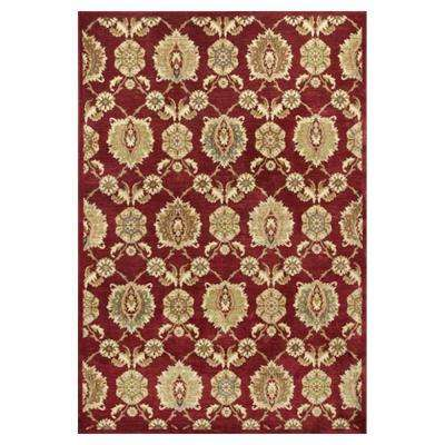 Silky Tabriz Red/Cream 5 ft. 3 in. x 7 ft. 7 in. Area Rug