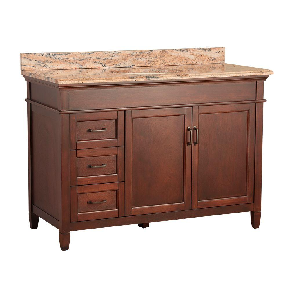 Home Decorators Collection Ashburn 49 in. W x 22 in. D Vanity in Mahogany with Vanity Top and Stone Effects in Bordeaux was $1099.0 now $769.3 (30.0% off)