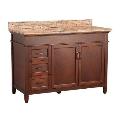 Ashburn 49 in. W x 22 in. D Vanity in Mahogany with Vanity Top and Stone Effects in Bordeaux