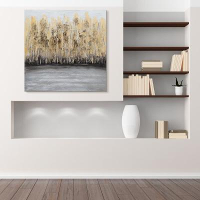 """Nature"" Textured Metallic Hand Painted by Martin Edwards Gold Trees Canvas Wall Art"