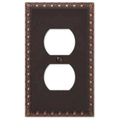 Antiquity 1 Duplex Outlet Plate - Aged Bronze Cast