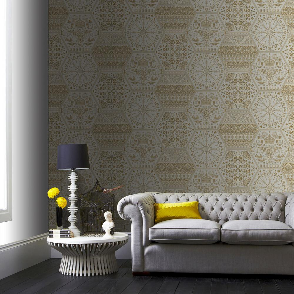 Gold World Heritage Removable Wallpaper