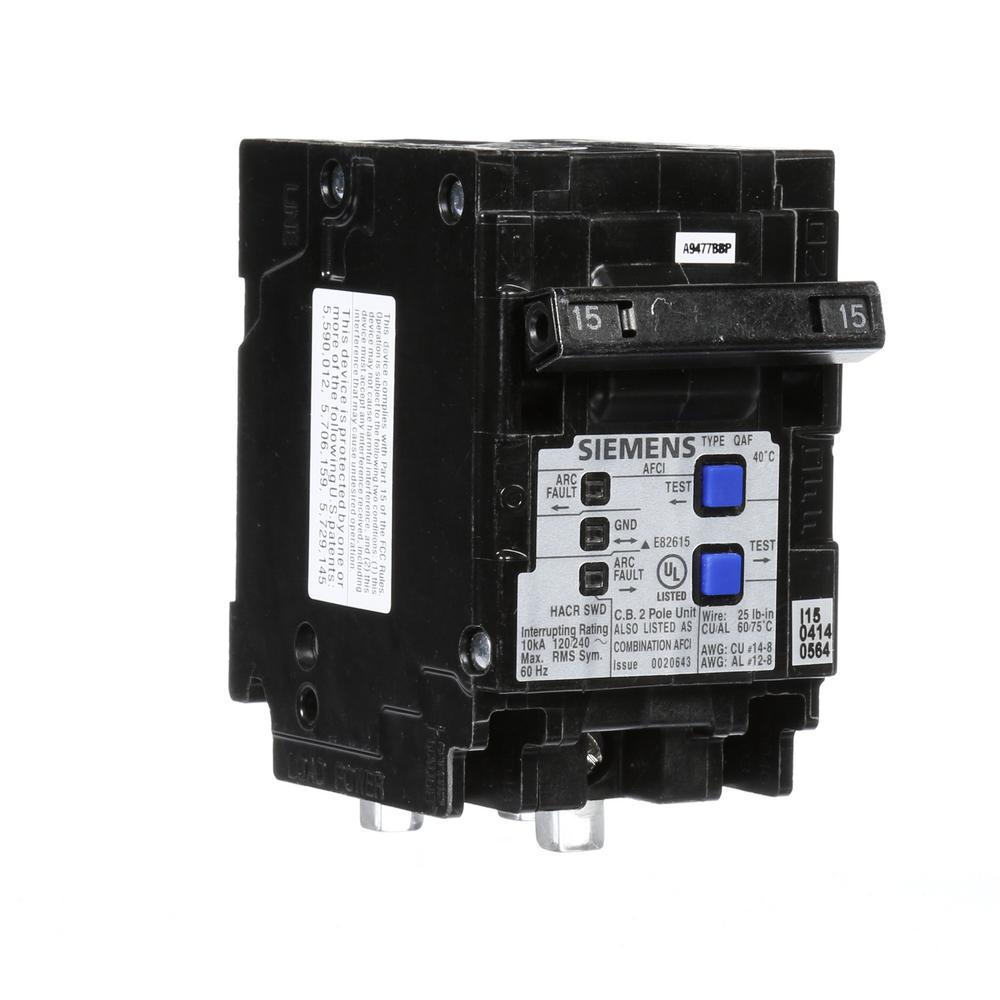 Siemens QP 15-Amp 2-Pole Combination Arc Fault Circuit Breaker