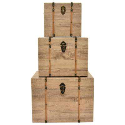14.5 in. Wood Trunks (Set of 3)