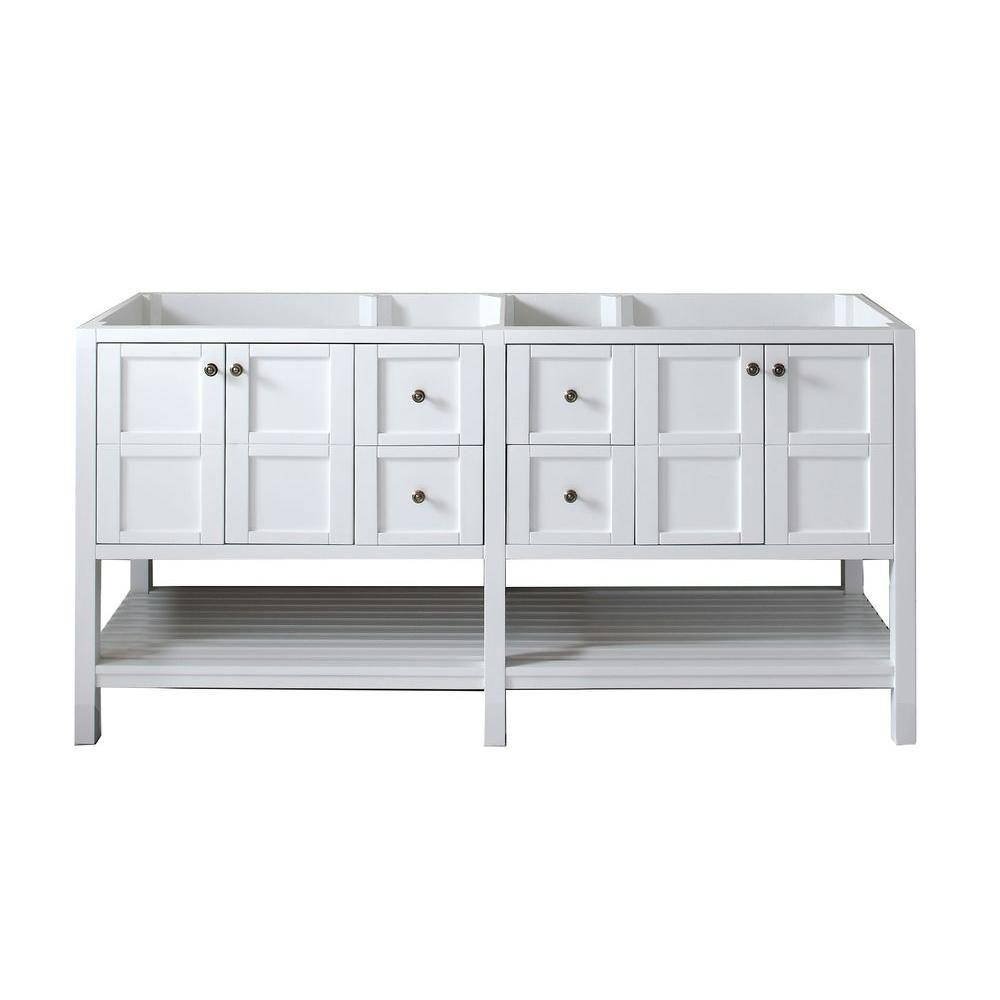 Virtu USA Winterfell 72 in. W x 22 in. D x 35.24 in. H Vanity Cabinet Only in White