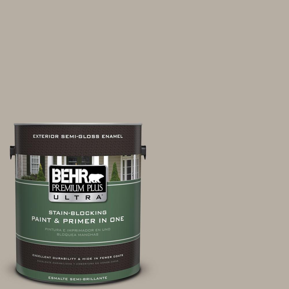 1-gal. #PPU18-13 Perfect Taupe Semi-Gloss Enamel Exterior Paint