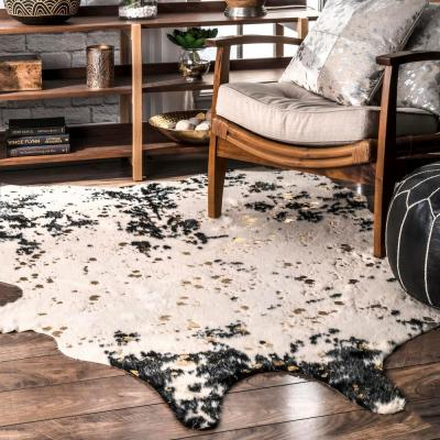 Iraida Faux Cowhide Off-White/Black 5 ft. x 7 ft. Shaped Accent Rug