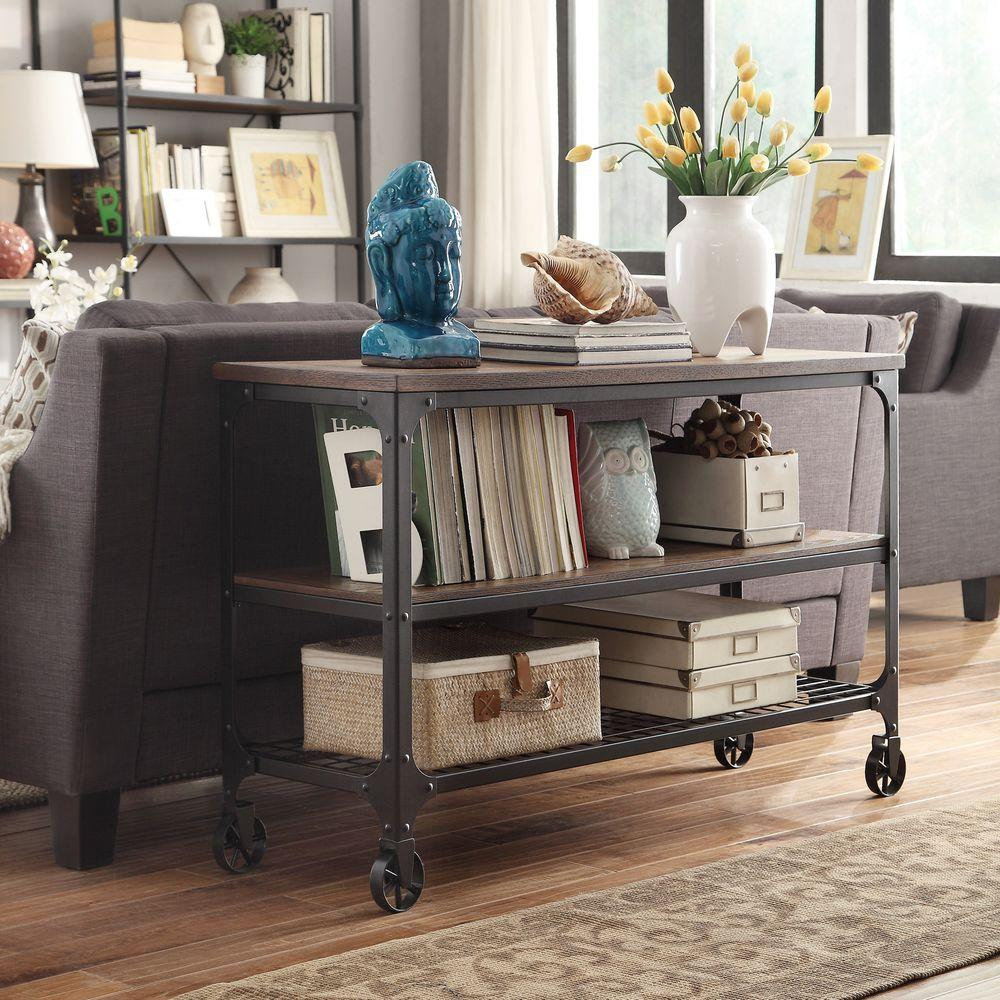 HomeSullivan Cabella Distressed Ash Mobile Console Table