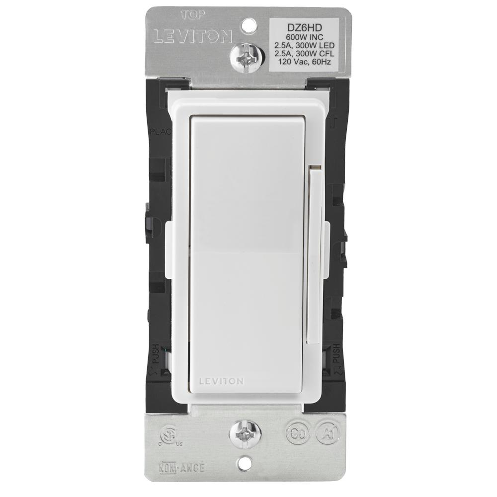 Leviton Decora Smart With Z Wave Technology 600 Watt Dimmer White Ledindicatorforremoteacloads Light