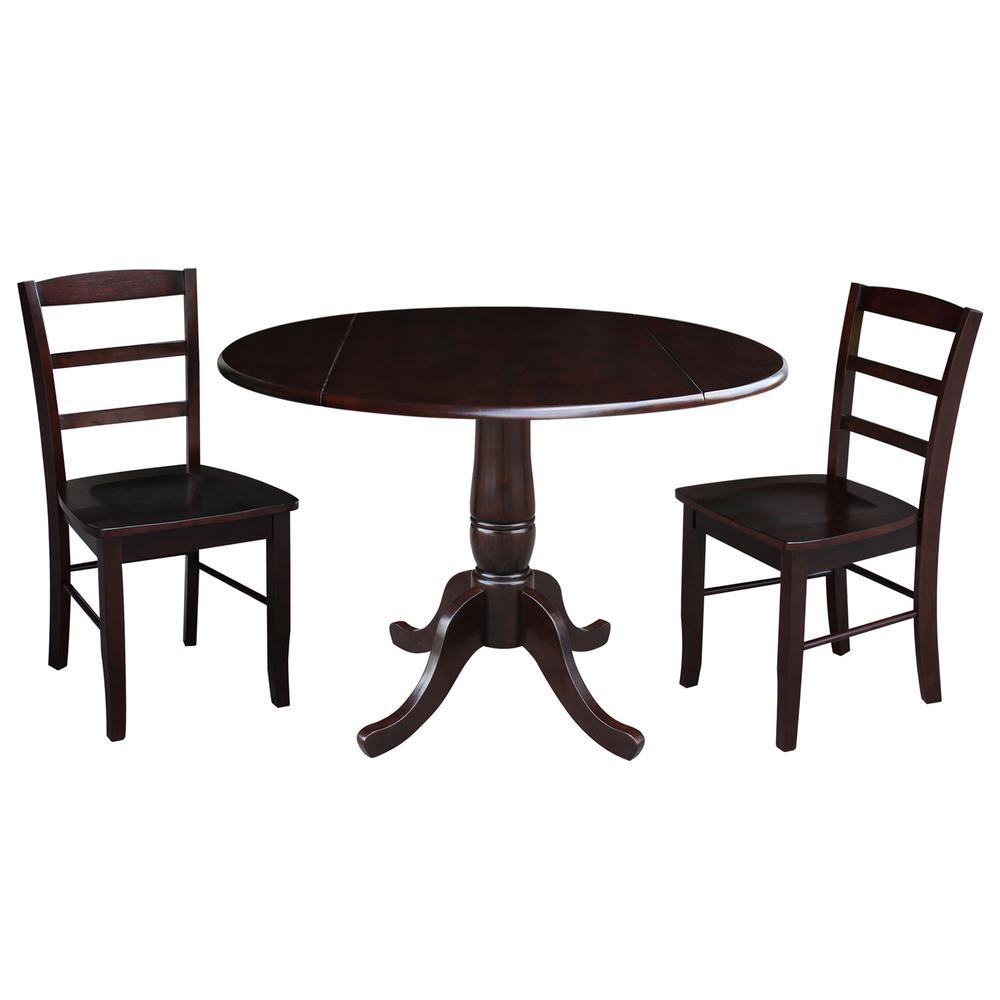 Laurel 3-Piece Rich Mocha Drop-leaf Dining Set with 2-Madrid Chairs