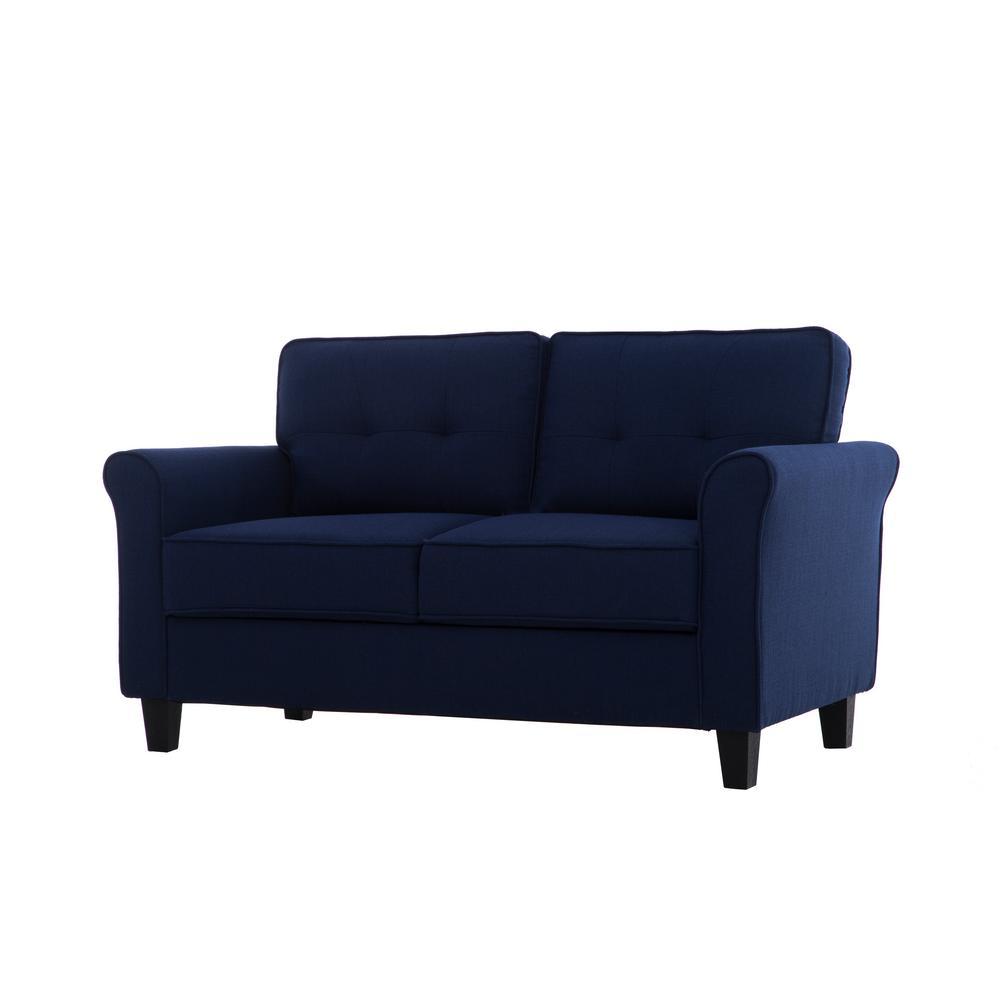 Harlem Mid Century Blue Modern 2-Seater Loveseat