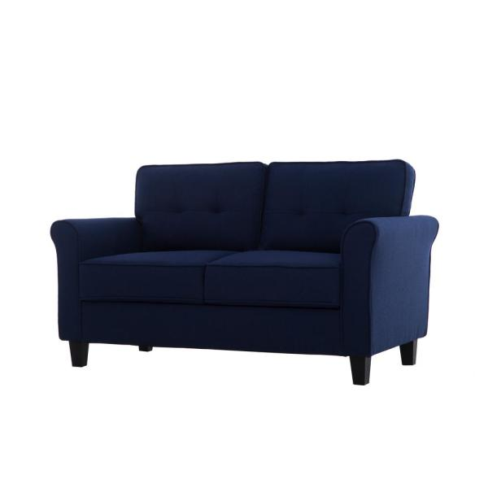 Lifestyle Solutions Harlem Mid Century Blue Modern 2-Seater Loveseat ...