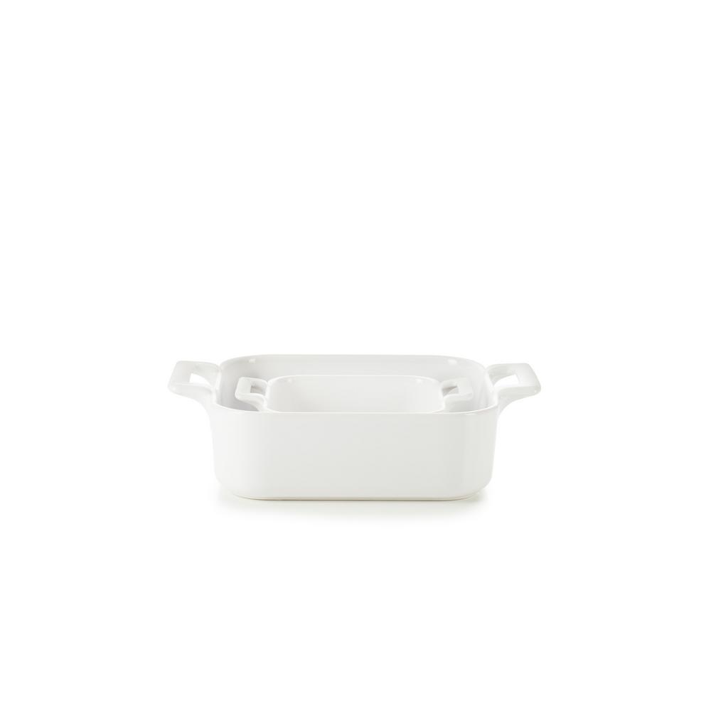 Belle Cuisine 2-Piece Square Porcelain Roasting Dish Set in White