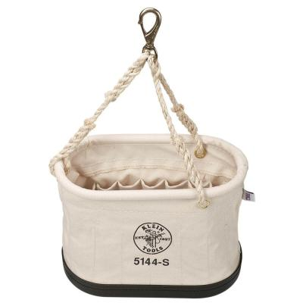 Canvas Bucket, 15-Pocket Oval Bucket with Swivel Snap