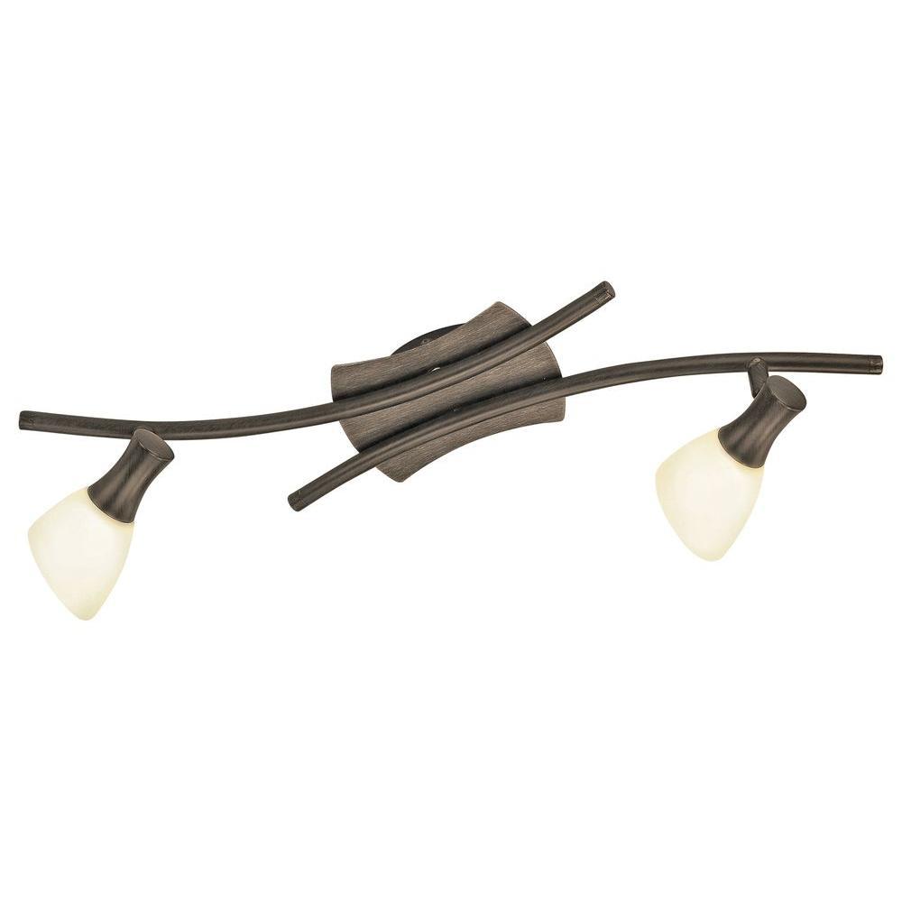 Ona 2-Light Antique Brown Transitional Lighting Track