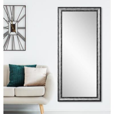 Oversized Silver/Black Composite Hooks Industrial Modern Mirror (72 in. H X 33 in. W)