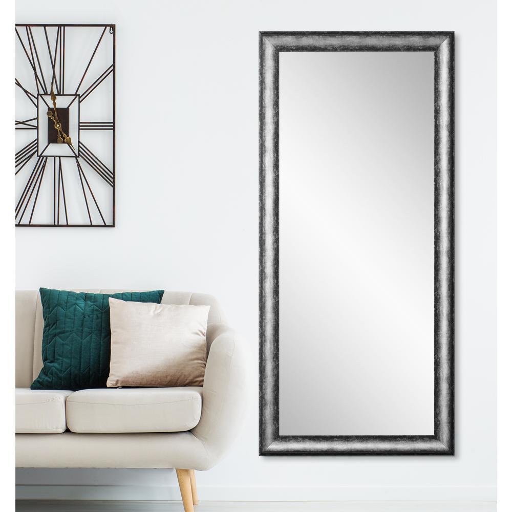 Oversized Silver/Black Composite Hooks Industrial Modern Mirror (72 in. H X 33 in. W)