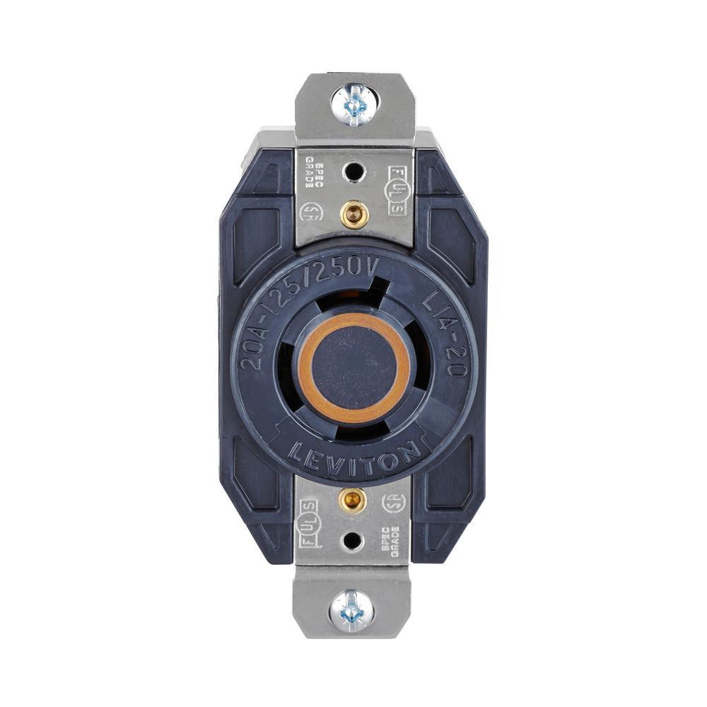 20 Amp Nylon Grounding Locking Outlet, Black