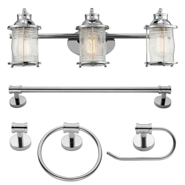 Bayfield 3-Light Chrome Vanity Light With Clear Glass Shades and Bath Set