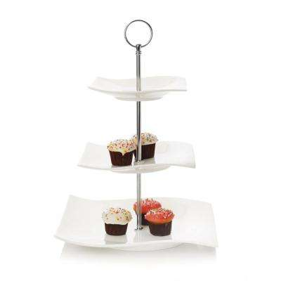 3-Tier White Basics Motion Cake Stand