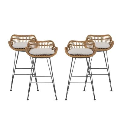 Dale 38 in. Light Brown Bar Stool with Beige Cushions (Set of 4)