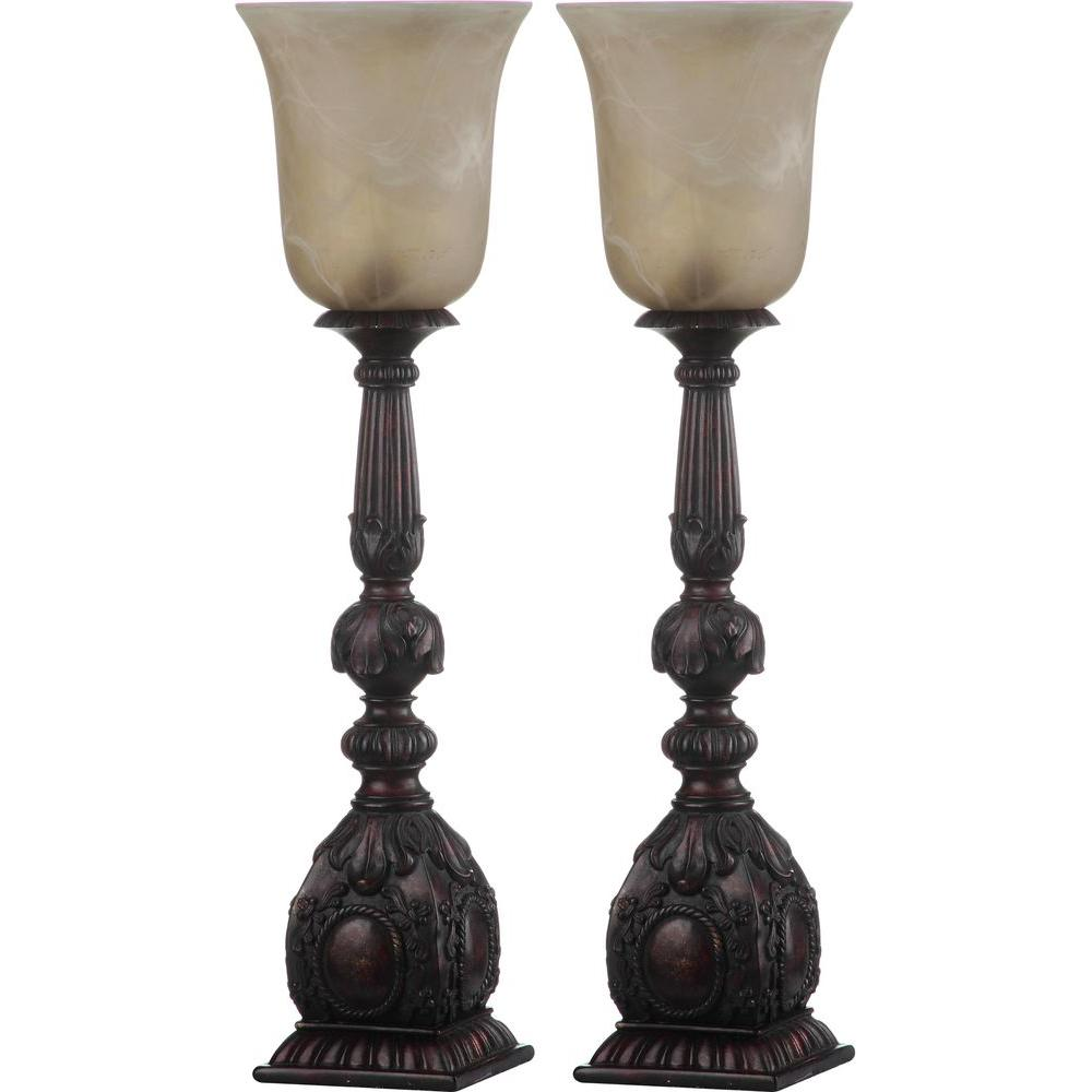 Dion Artifact 27.5 in. Oil-Rubbed Bronze Table Lamp with Antique White