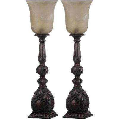 Dion Artifact 27.5 in. Oil-Rubbed Bronze Table Lamp with Antique White Shade (Set of 2)