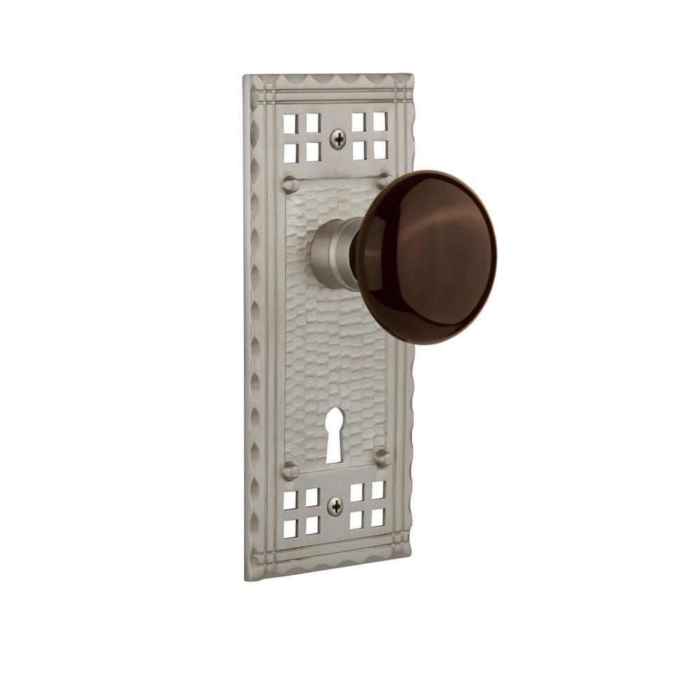 Craftsman Plate Interior Mortise Brown Porcelain Door Knob in Satin Nickel