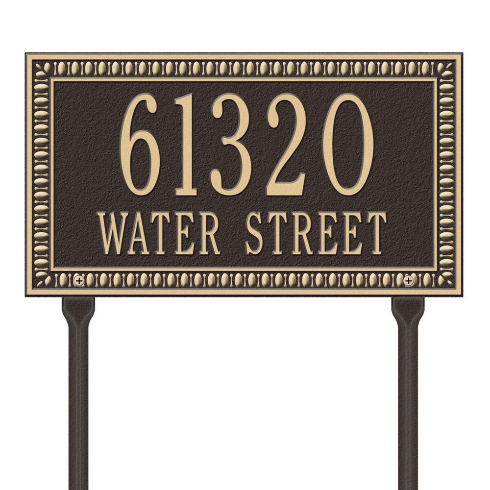 Egg and Dart Rectangular Bronze/Gold Standard Lawn Two Line Address Plaque