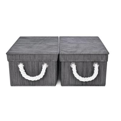 3-Gal. Medium Rectangle Polyester Storage Bin with Lid and Cotton Rope Handles in Slate (Set of 2)