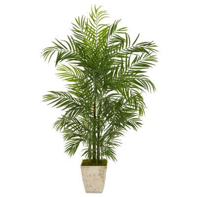63 in. Areca Artificial Palm Tree in Country White Planter UV Resistant (Indoor/Outdoor)