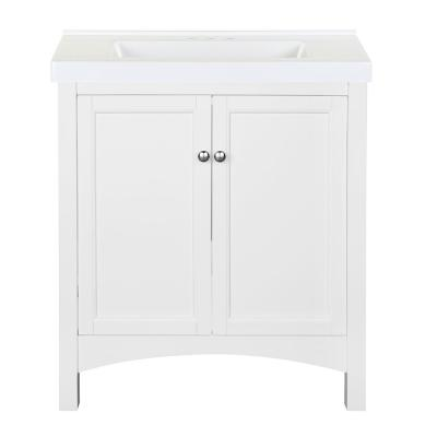 Haven 31 in. W x 22 in. D Bath Vanity in White with Cultured Marble Vanity Top in White with White Sink