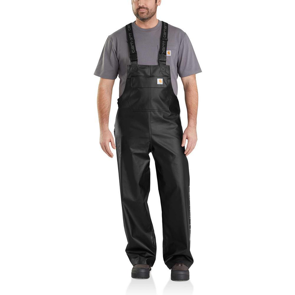 Men's Medium Black Polyethylene/Polyester Midweight Waterproof Rain Storm Unlined Bibs