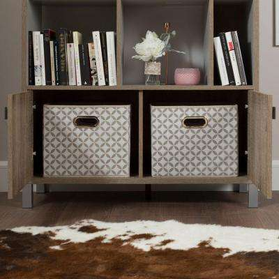 Expoz Weathered Oak and Soft Gray Storage Open Bookcase