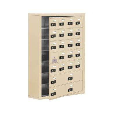 19100 Series 30.5 in. W x 42 in. H x 9.25 in. D 23 Doors Cell Phone Locker Surface Mount Resettable Lock in Sandstone