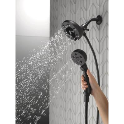 In2ition Two-in-One 4-Spray 3 in. Dual Wall Mount Fixed and Handheld H2Okinetic Shower Head in Matte Black