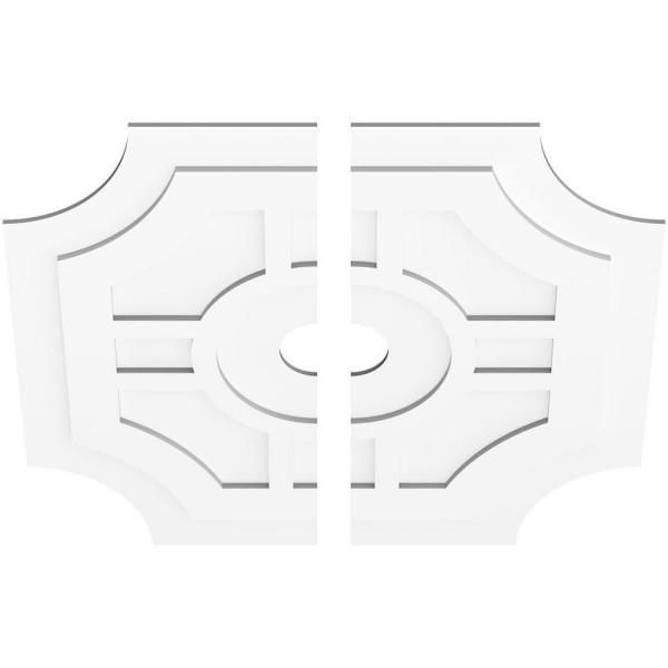 Ekena Millwork 1 In P X 13 1 4 In C X 40 In Od X 5 In Id Haus Architectural Grade Pvc Contemporary Ceiling Medallion Two Piece Cmp40hs2 05000 The Home Depot