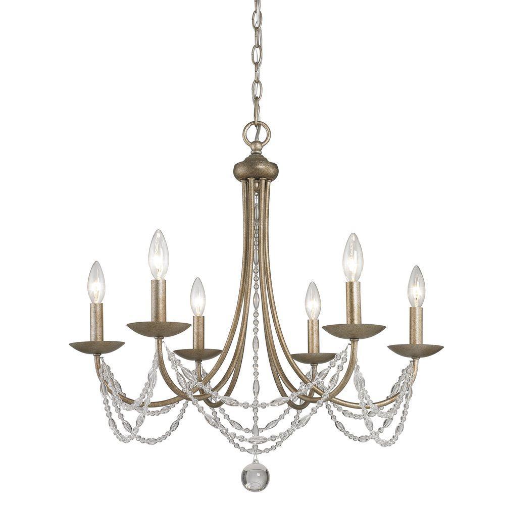 Tatiana Collection 6-Light Golden Aura Chandelier