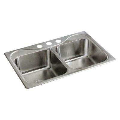 Southhaven Drop-in Stainless Steel 33 in. 3-Hole 50/50 Double Bowl Kitchen Sink in Satin