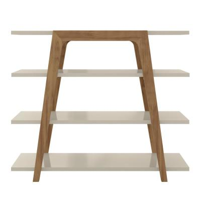 37.97 in. Off White/Brown Faux Wood 4-shelf Ladder Bookcase with Open Back