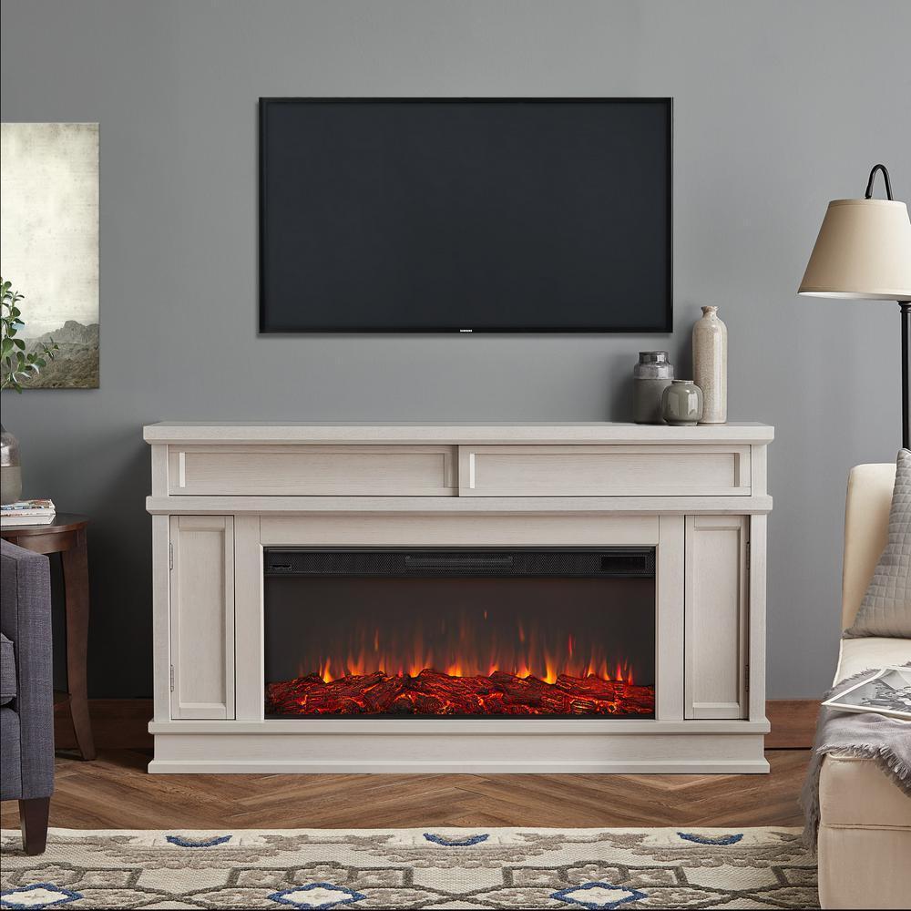 Torrey 60 in. Freestanding Electric Fireplace in Bone White