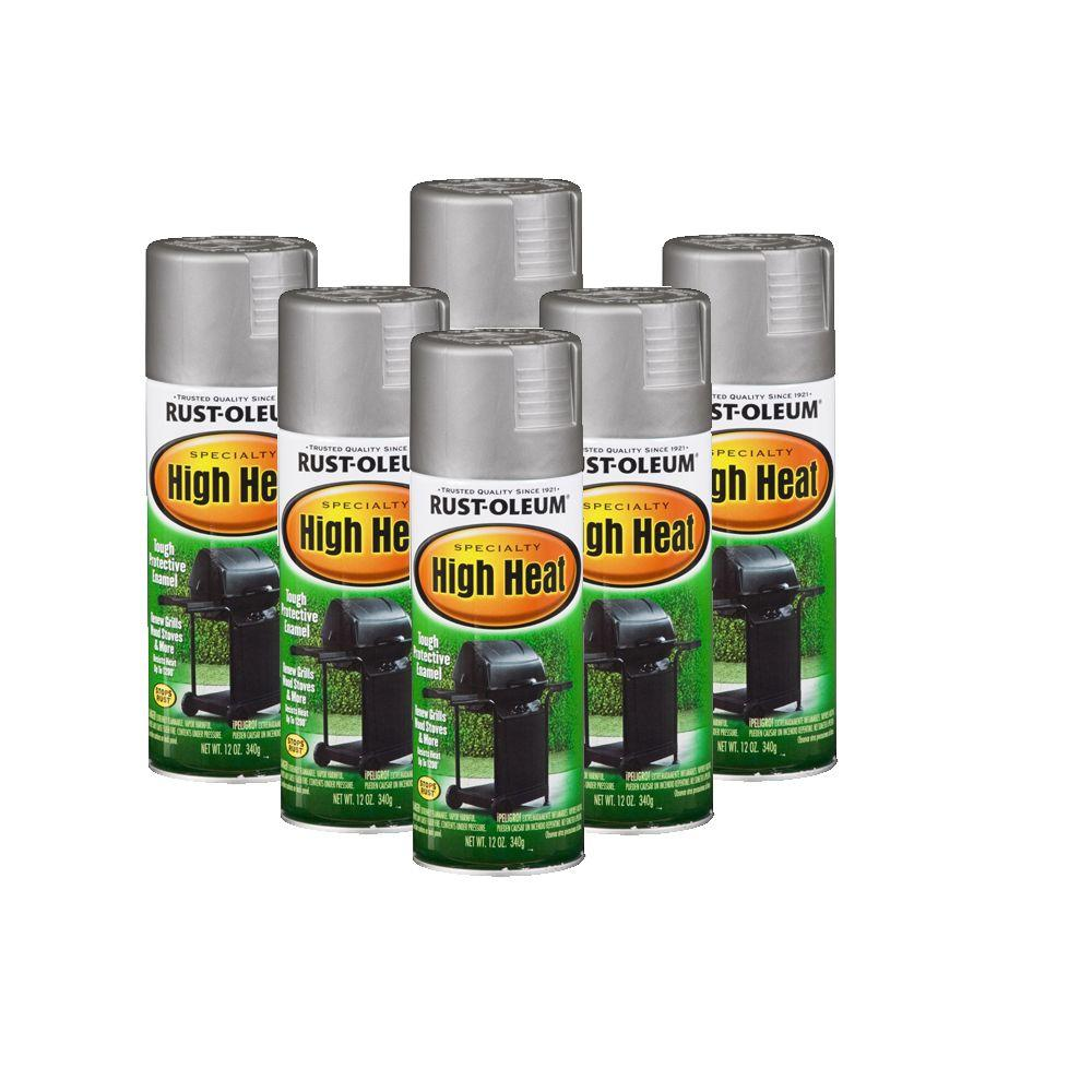 Rust-Oleum Stops Rust Specialty 12 oz. High Heat Flat Silver Spray Paint (6-Pack)-DISCONTINUED